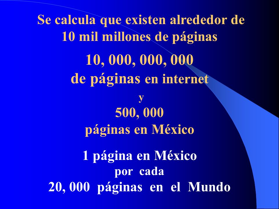 Se calcula que existen alrededor de 10 mil millones de páginas