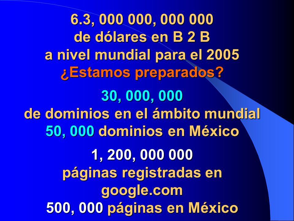 6.3, 000 000, 000 000 de dólares en B 2 B a nivel mundial para el 2005 ¿Estamos preparados.