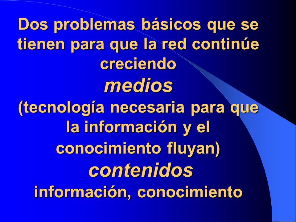 Dos problemas básicos que se tienen para que la red continúe creciendo medios (tecnología necesaria para que la información y el conocimiento fluyan) contenidos información, conocimiento