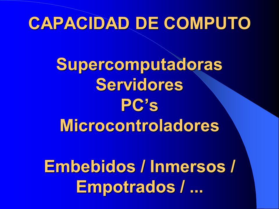 CAPACIDAD DE COMPUTO Supercomputadoras Servidores PC's Microcontroladores Embebidos / Inmersos / Empotrados / ...