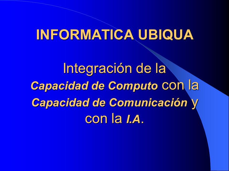 INFORMATICA UBIQUA Integración de la Capacidad de Computo con la Capacidad de Comunicación y con la I.A.