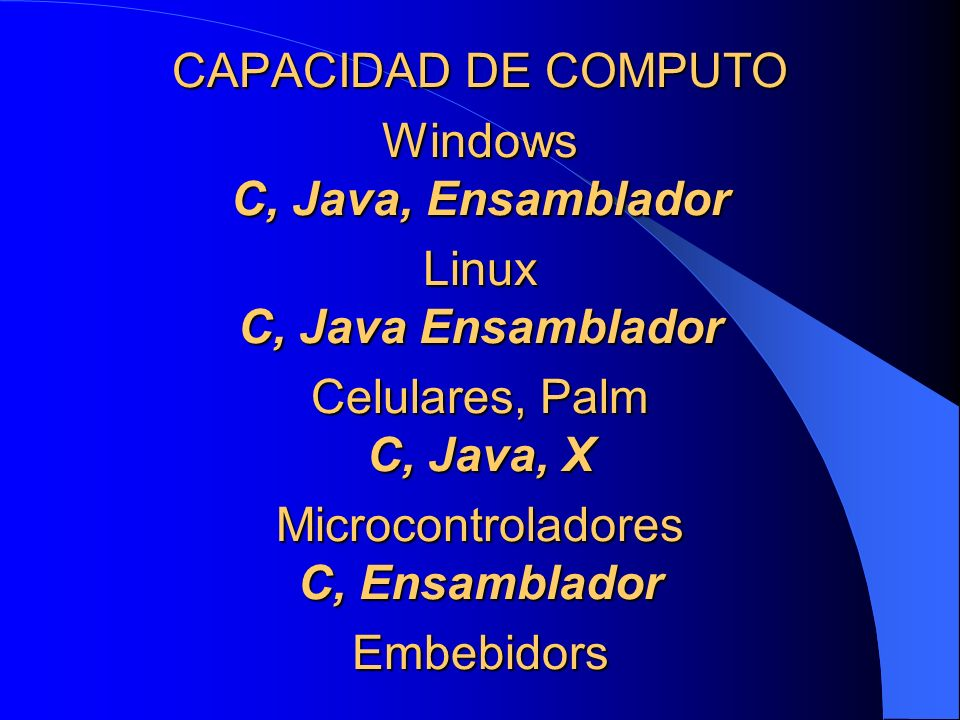 CAPACIDAD DE COMPUTO Windows C, Java, Ensamblador Linux C, Java Ensamblador Celulares, Palm C, Java, X Microcontroladores C, Ensamblador Embebidors