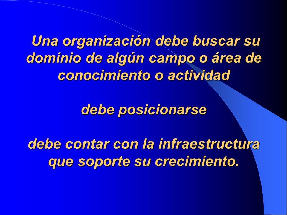 Una organización debe buscar su dominio de algún campo o área de conocimiento o actividad debe posicionarse debe contar con la infraestructura que soporte su crecimiento.