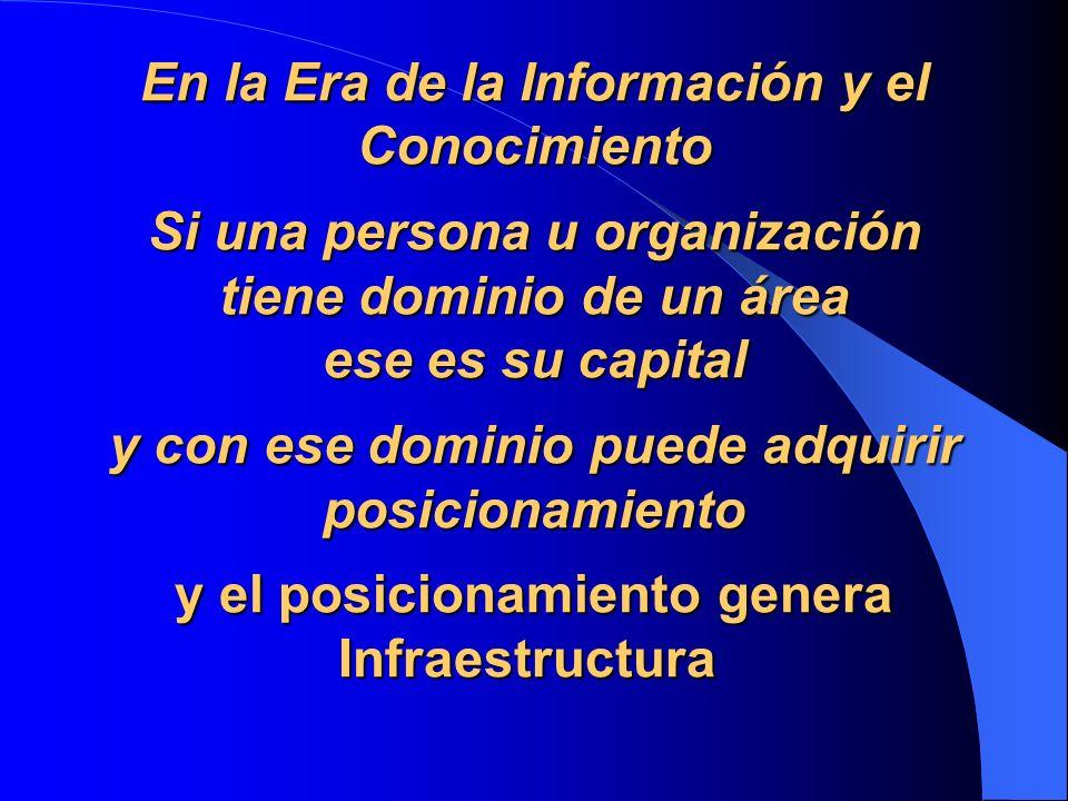 En la Era de la Información y el Conocimiento Si una persona u organización tiene dominio de un área ese es su capital y con ese dominio puede adquirir posicionamiento y el posicionamiento genera Infraestructura