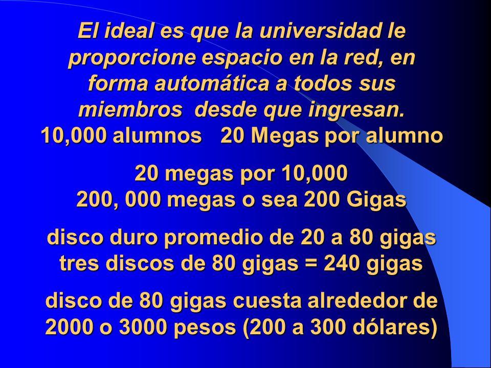 El ideal es que la universidad le proporcione espacio en la red, en forma automática a todos sus miembros desde que ingresan.