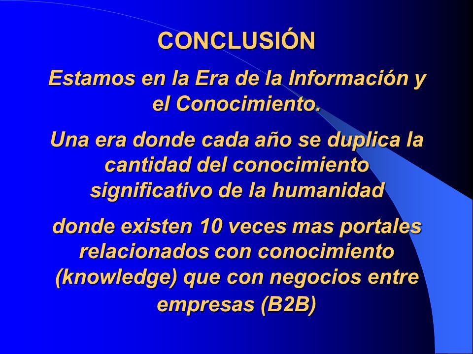 CONCLUSIÓN Estamos en la Era de la Información y el Conocimiento