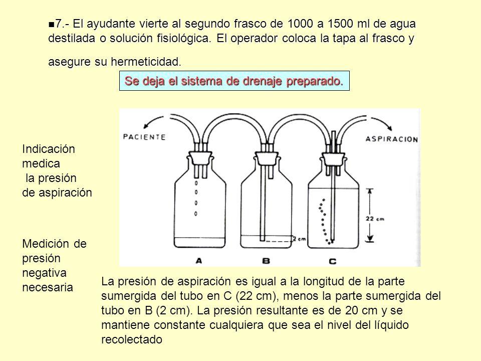 7.- El ayudante vierte al segundo frasco de 1000 a 1500 ml de agua destilada o solución fisiológica. El operador coloca la tapa al frasco y asegure su hermeticidad.