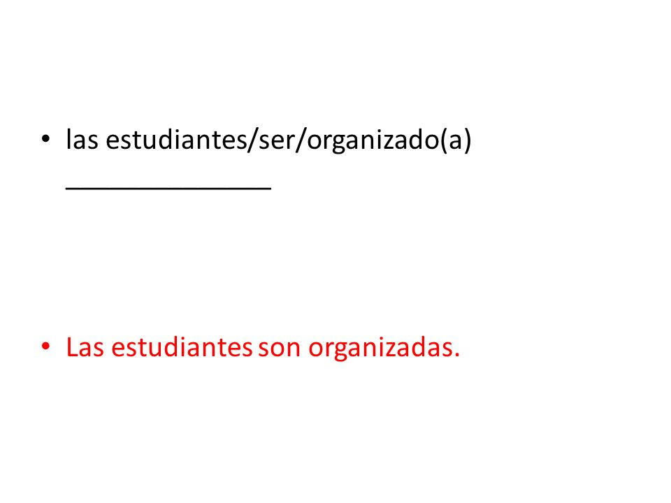 las estudiantes/ser/organizado(a) ______________