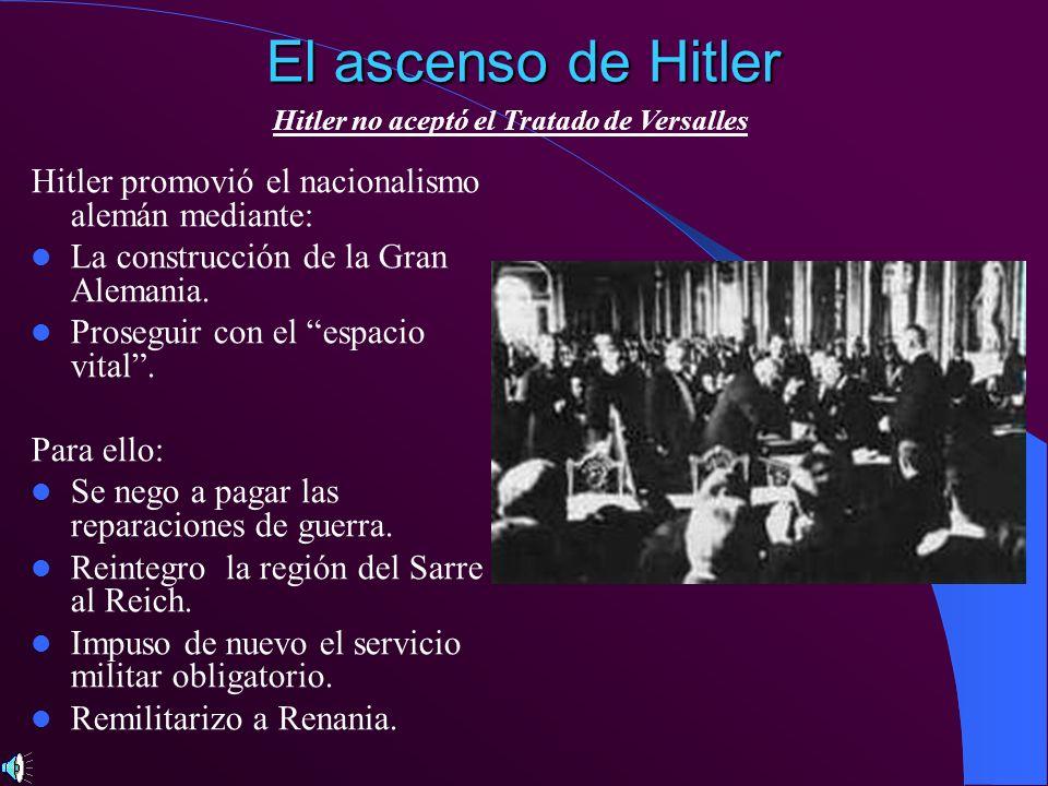 El ascenso de Hitler Hitler promovió el nacionalismo alemán mediante: