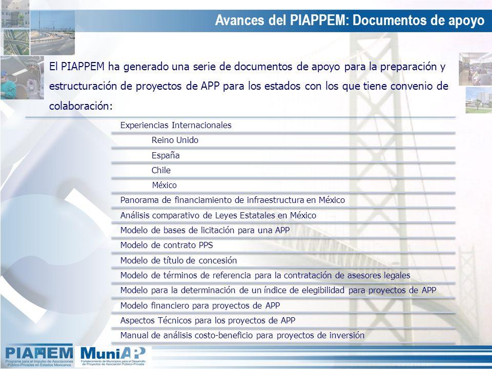 Avances del PIAPPEM: Documentos de apoyo