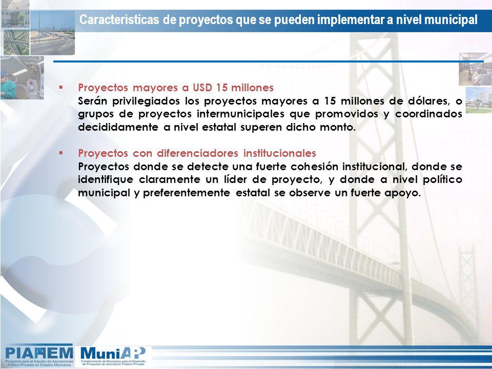 Características de proyectos que se pueden implementar a nivel municipal