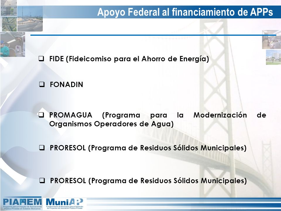 Apoyo Federal al financiamiento de APPs