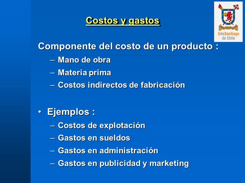 Componente del costo de un producto :
