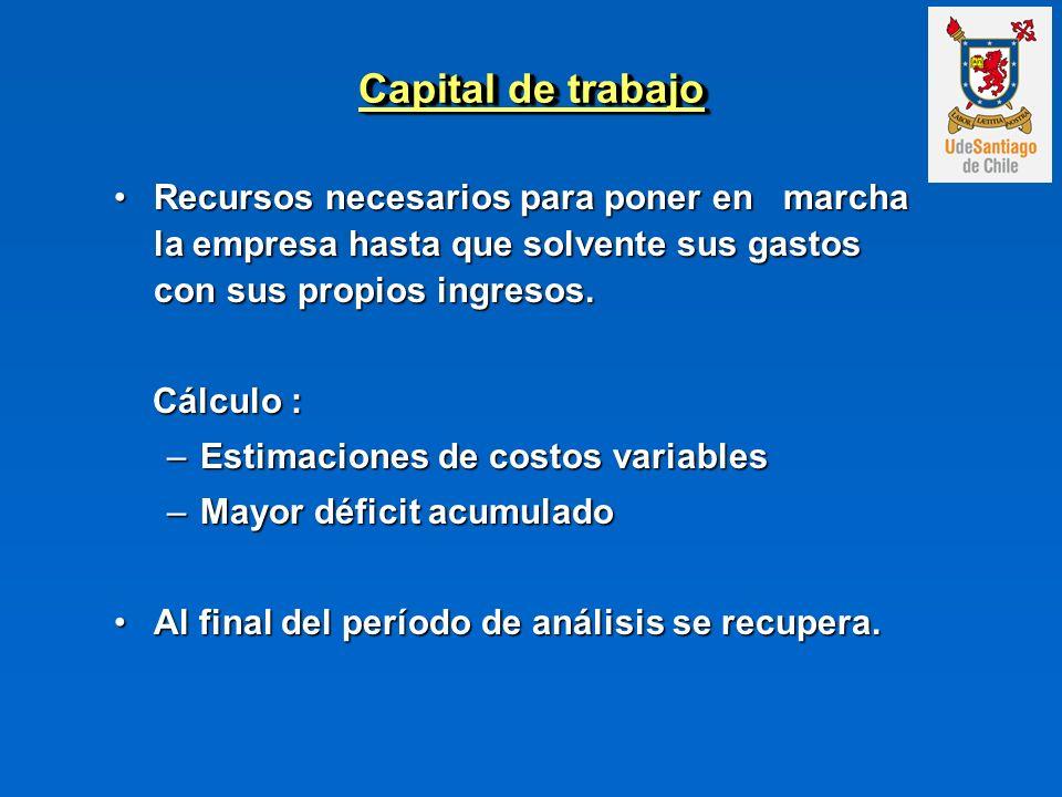 Capital de trabajo Recursos necesarios para poner en marcha la empresa hasta que solvente sus gastos con sus propios ingresos.