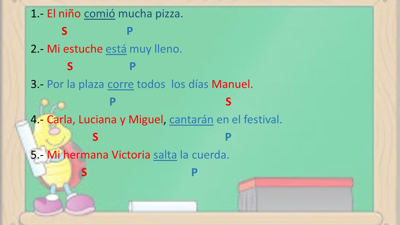 1. - El niño comió mucha pizza. S P 2. - Mi estuche está muy lleno