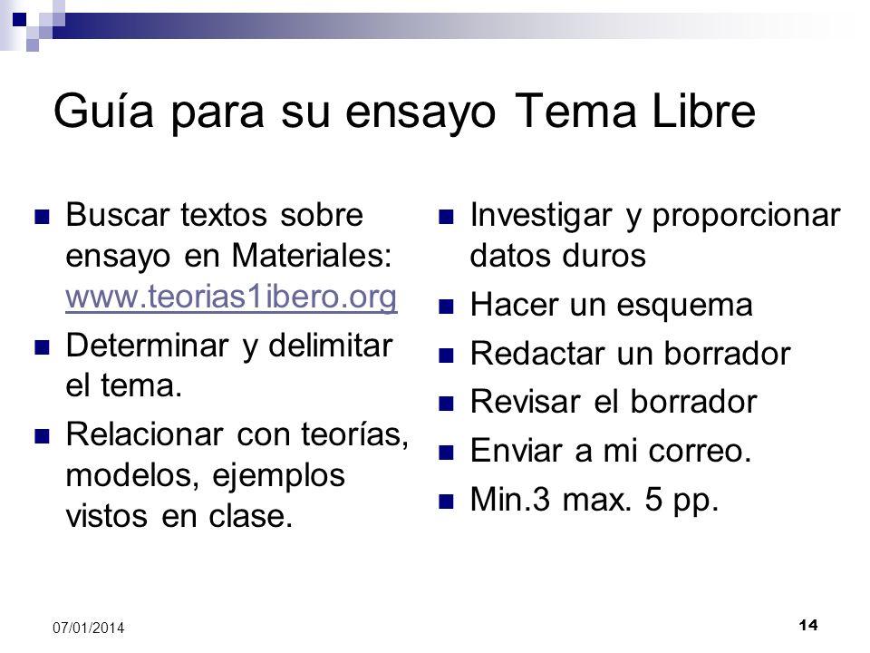 Guía para su ensayo Tema Libre