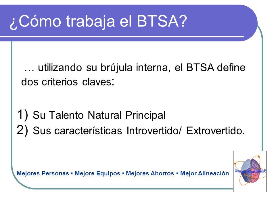¿Cómo trabaja el BTSA … utilizando su brújula interna, el BTSA define dos criterios claves: Su Talento Natural Principal.