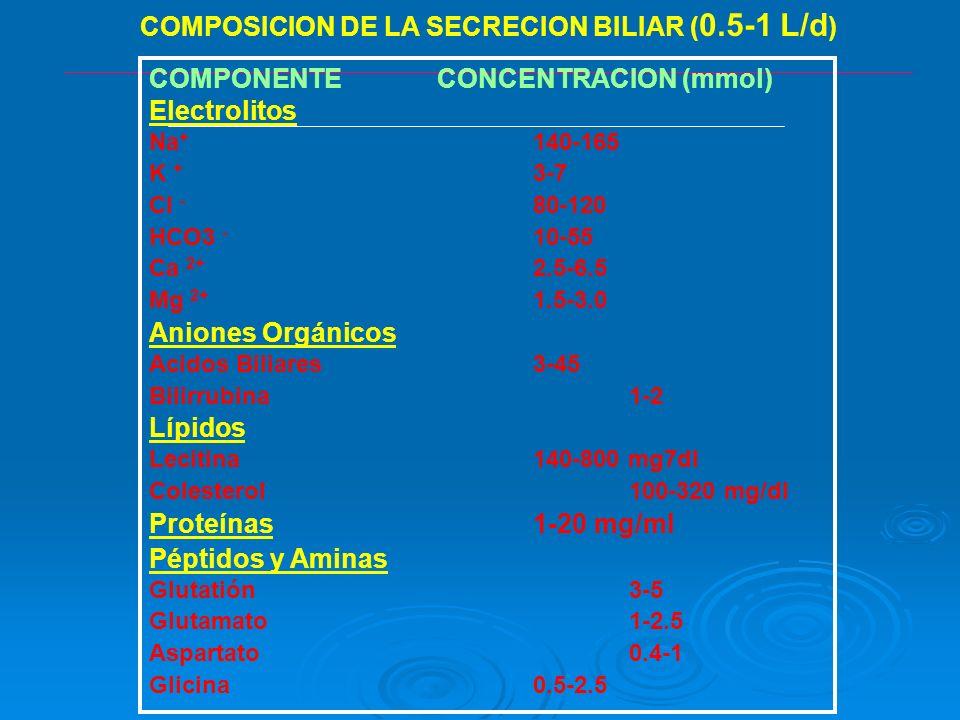 COMPOSICION DE LA SECRECION BILIAR (0.5-1 L/d)