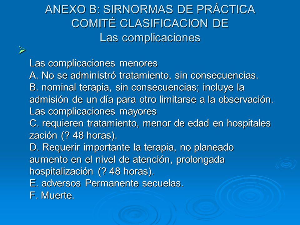 ANEXO B: SIRNORMAS DE PRÁCTICA COMITÉ CLASIFICACION DE Las complicaciones