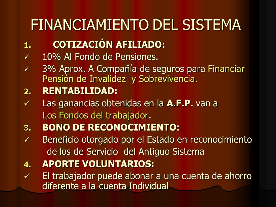 FINANCIAMIENTO DEL SISTEMA