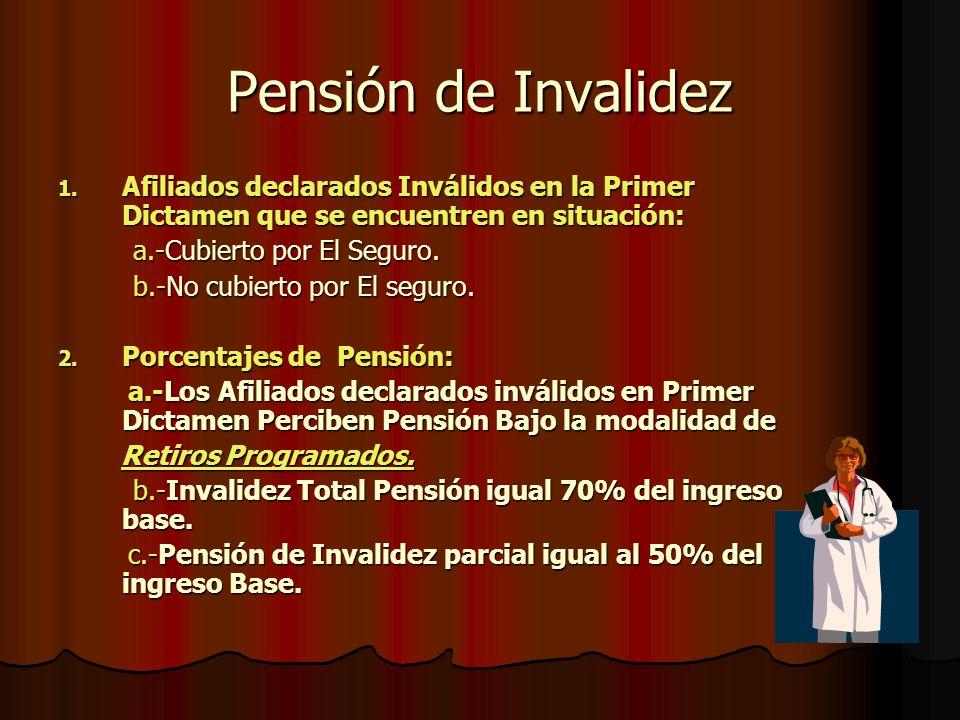 Pensión de Invalidez Afiliados declarados Inválidos en la Primer Dictamen que se encuentren en situación: