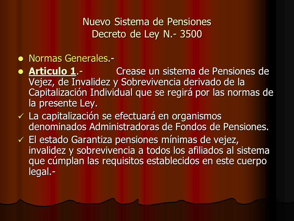 Nuevo Sistema de Pensiones Decreto de Ley N.- 3500