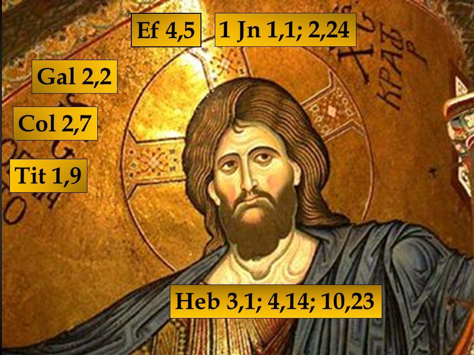 Ef 4,5 1 Jn 1,1; 2,24 Gal 2,2 Col 2,7 Tit 1,9 Heb 3,1; 4,14; 10,23