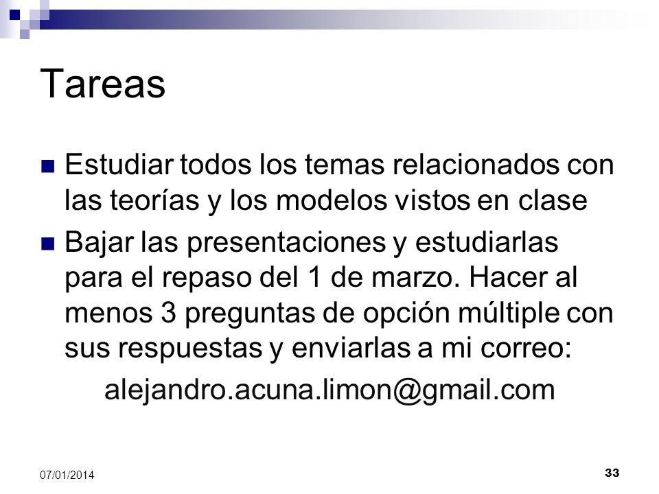 Tareas Estudiar todos los temas relacionados con las teorías y los modelos vistos en clase.