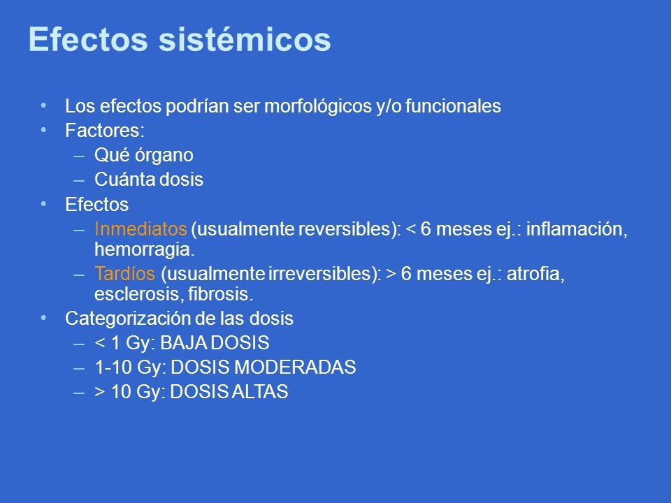 Efectos sistémicos Los efectos podrían ser morfológicos y/o funcionales. Factores: Qué órgano. Cuánta dosis.