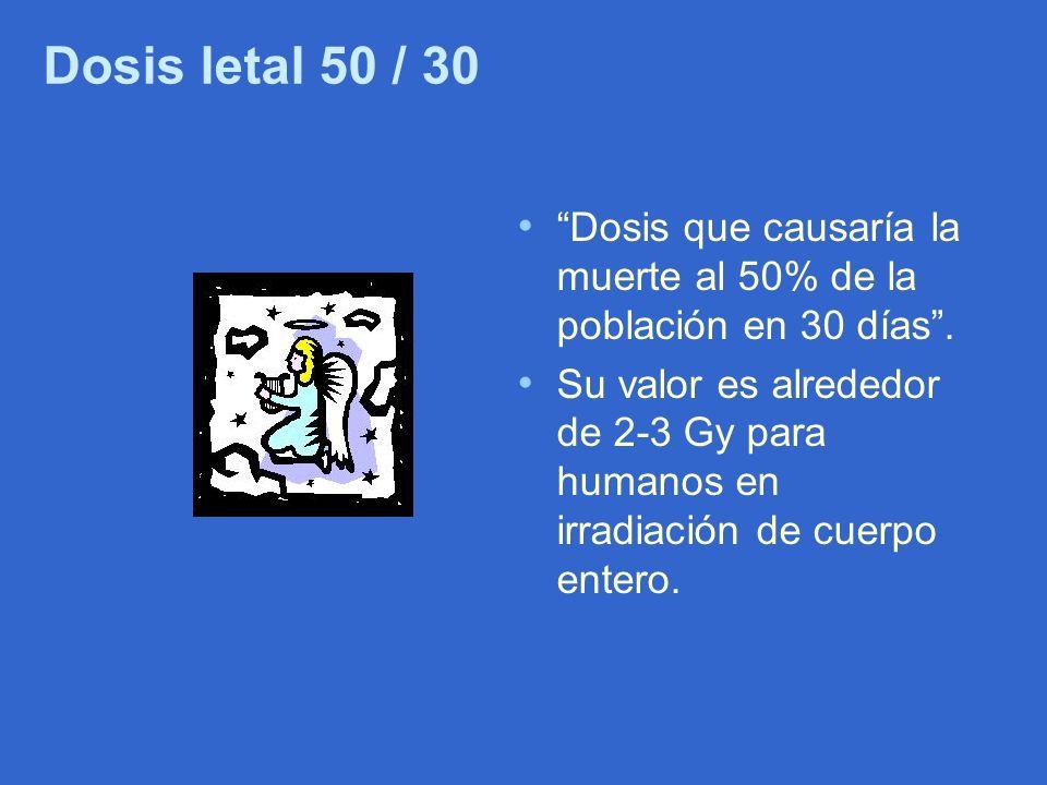 Dosis letal 50 / 30 Dosis que causaría la muerte al 50% de la población en 30 días .