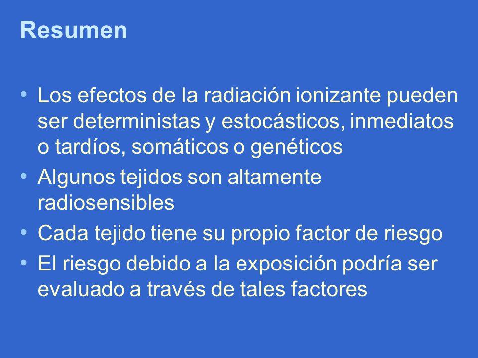 Resumen Los efectos de la radiación ionizante pueden ser deterministas y estocásticos, inmediatos o tardíos, somáticos o genéticos.
