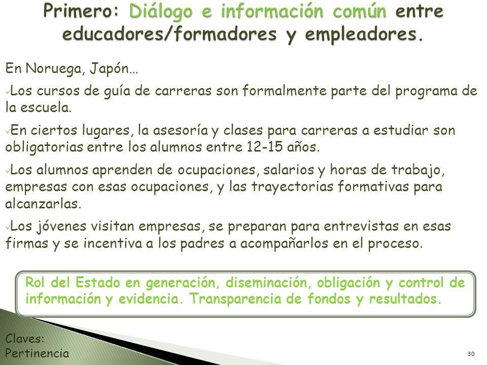 Primero: Diálogo e información común entre educadores/formadores y empleadores.
