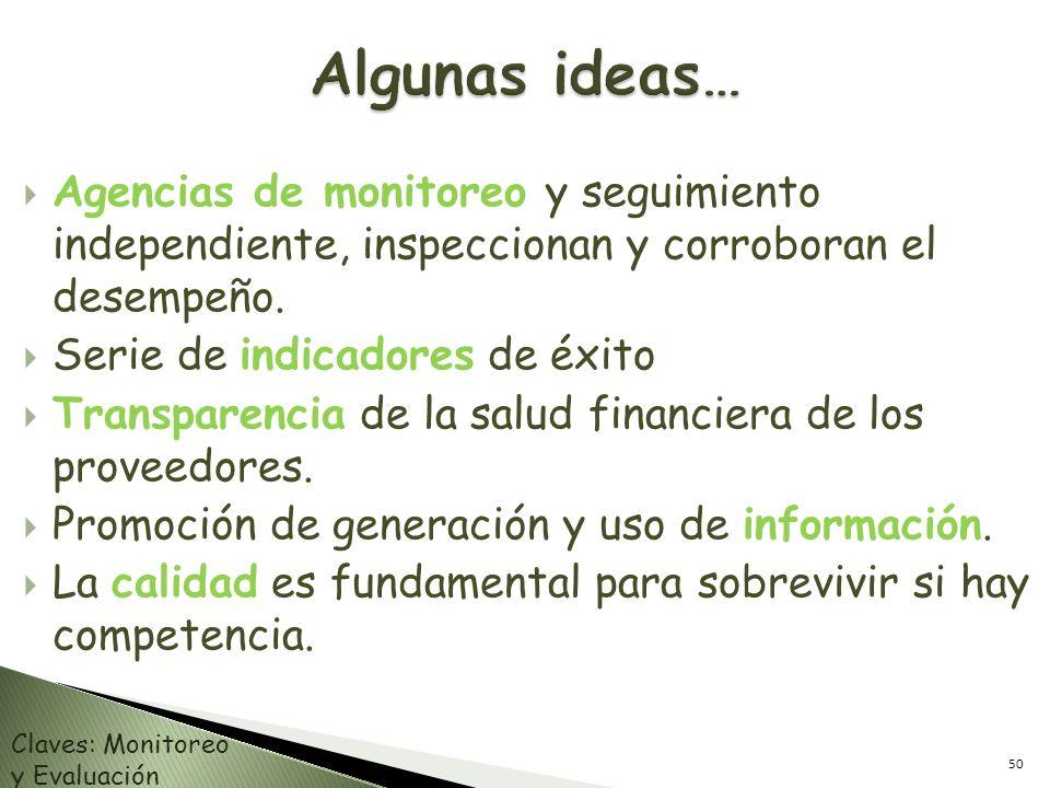 Algunas ideas… Agencias de monitoreo y seguimiento independiente, inspeccionan y corroboran el desempeño.