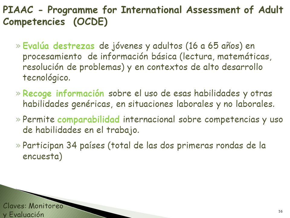 PIAAC - Programme for International Assessment of Adult Competencies (OCDE)