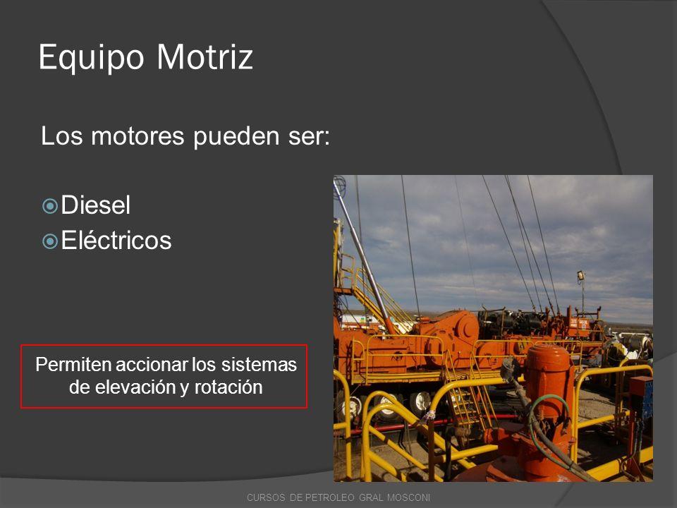 Equipo Motriz Los motores pueden ser: Diesel Eléctricos