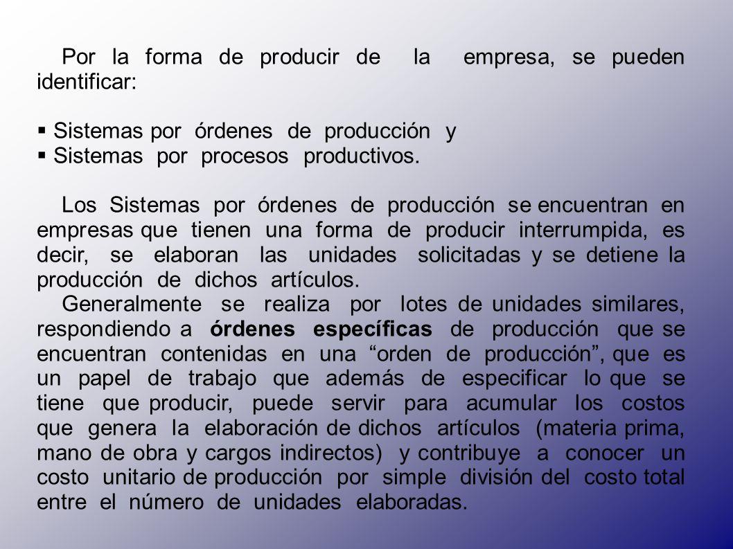 Por la forma de producir de la empresa, se pueden identificar: