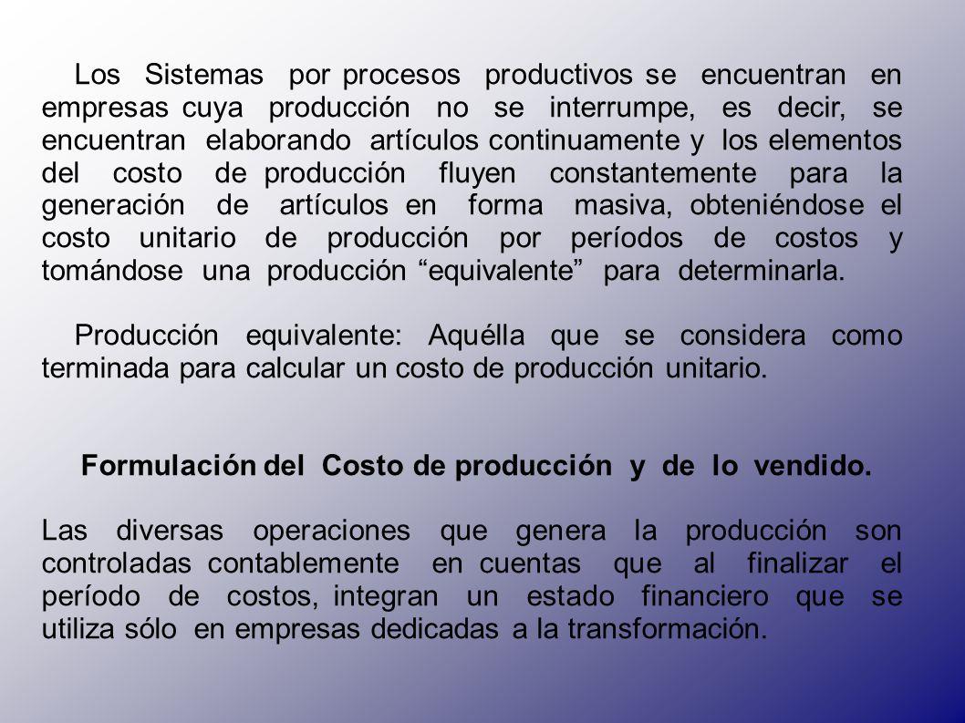 Formulación del Costo de producción y de lo vendido.