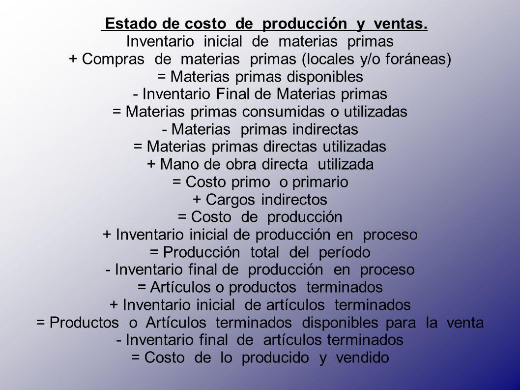 Estado de costo de producción y ventas.