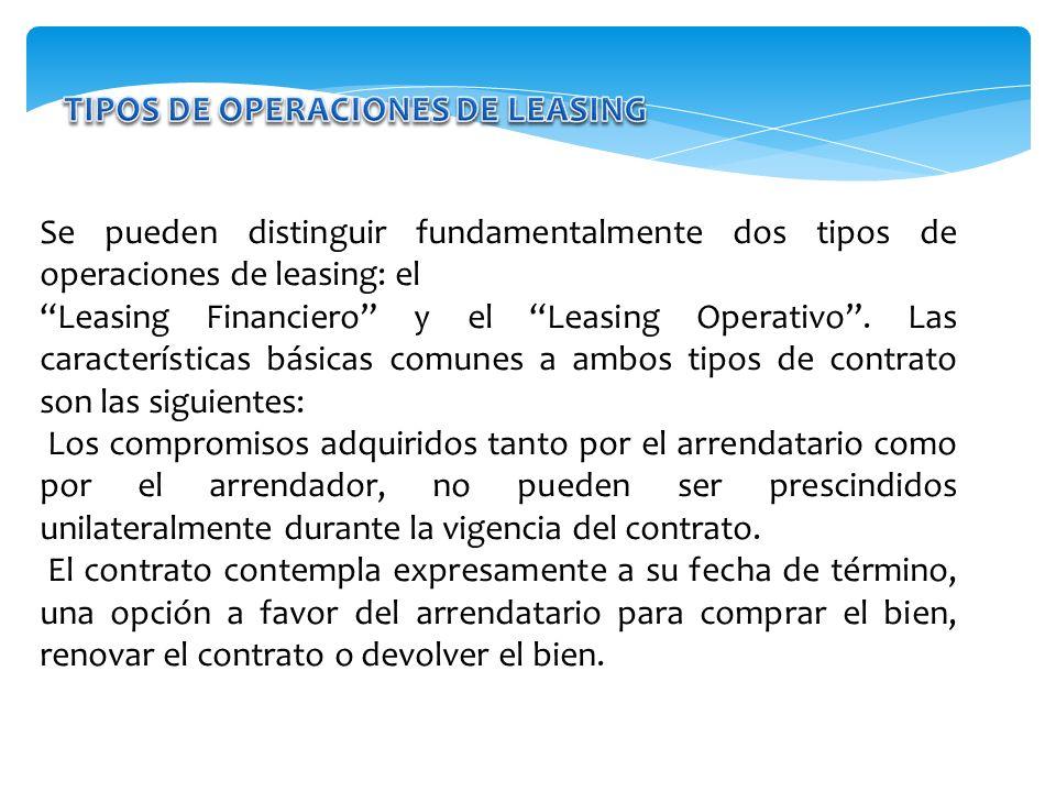 TIPOS DE OPERACIONES DE LEASING