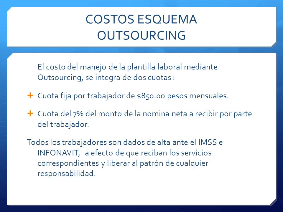 COSTOS ESQUEMA OUTSOURCING