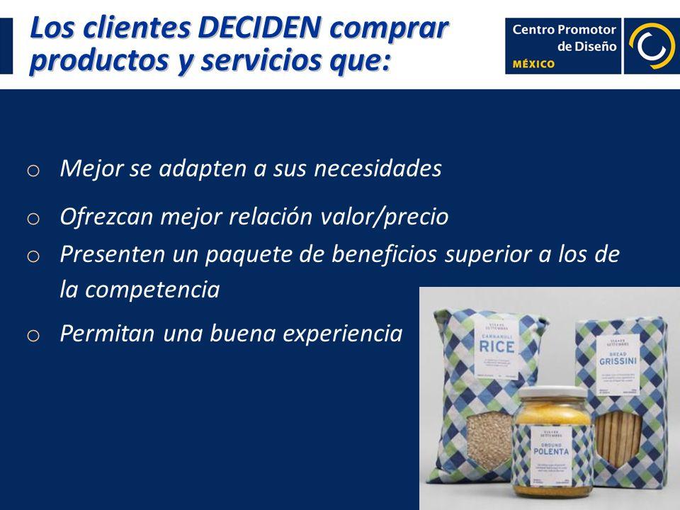 Los clientes DECIDEN comprar productos y servicios que: