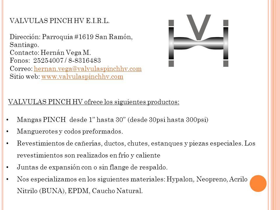 VALVULAS PINCH HV E.I.R.L. Dirección: Parroquia #1619 San Ramón, Santiago. Contacto: Hernán Vega M.
