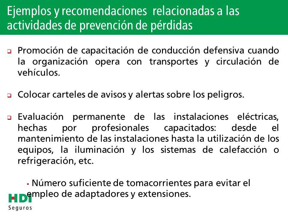 Ejemplos y recomendaciones relacionadas a las actividades de prevención de pérdidas