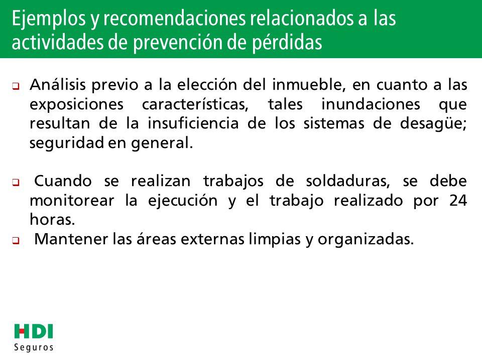 Ejemplos y recomendaciones relacionados a las actividades de prevención de pérdidas