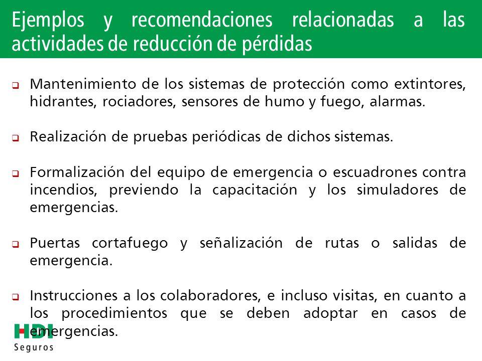 Ejemplos y recomendaciones relacionadas a las actividades de reducción de pérdidas