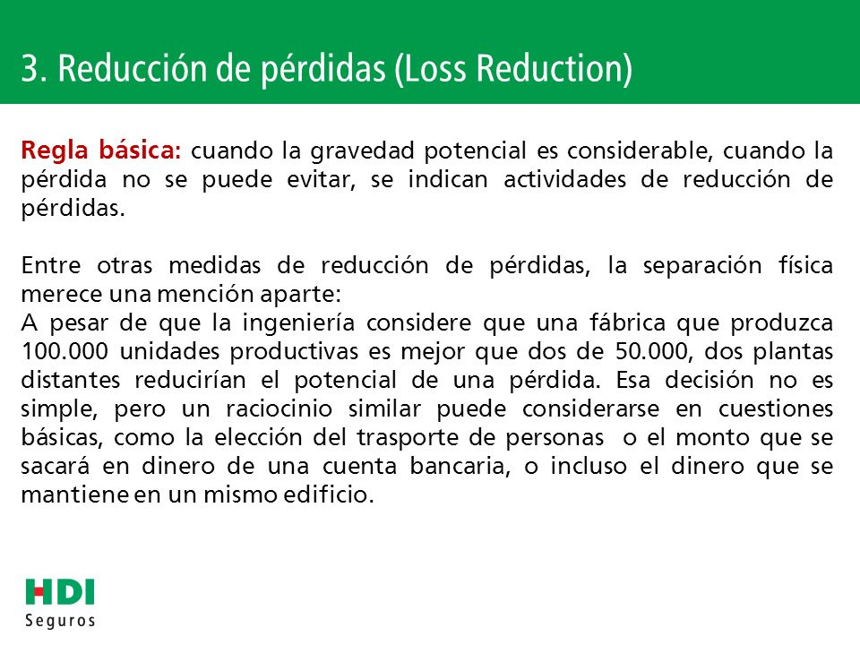 3. Reducción de pérdidas (Loss Reduction)