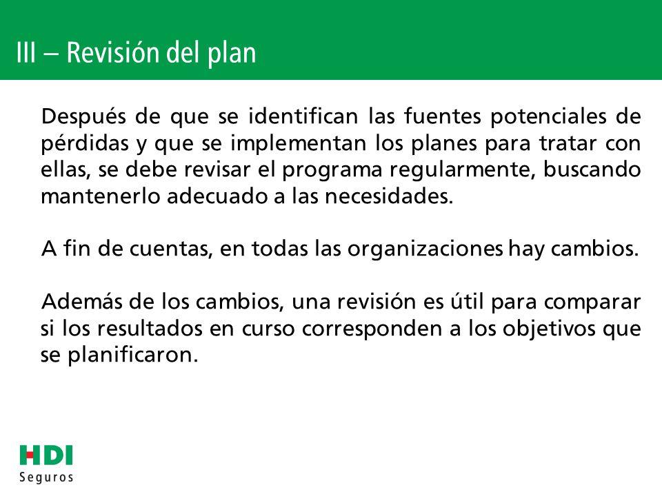 III – Revisión del plan