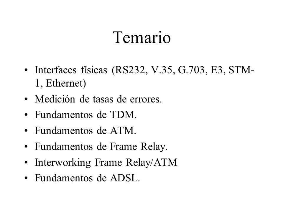 Temario Interfaces físicas (RS232, V.35, G.703, E3, STM-1, Ethernet)