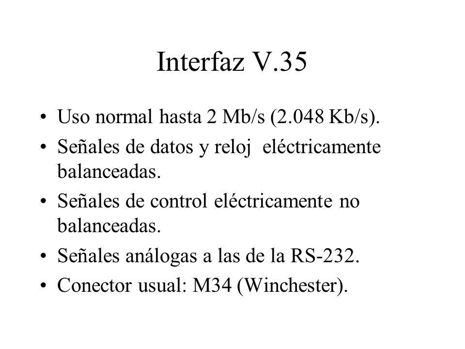 Interfaz V.35 Uso normal hasta 2 Mb/s (2.048 Kb/s).