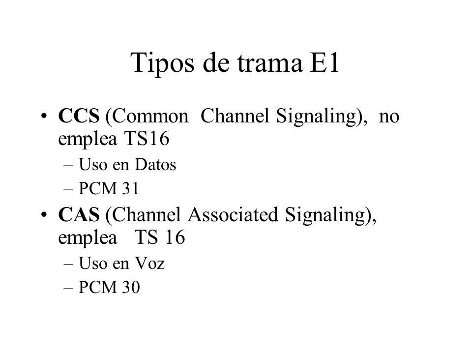 Tipos de trama E1 CCS (Common Channel Signaling), no emplea TS16